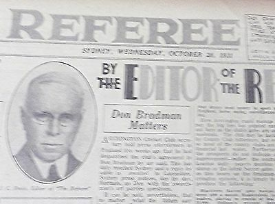 1931 The Referee ~ Sydney ~ 'don Bradman Matters' ~  Newspaper 24 Pages