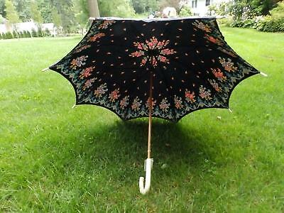 Vintage 1970s Black Floral Courreges Sun Umbrella Parasol, Lucite Handle & Tips