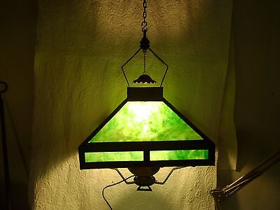 Antique Large Slag Glass Electrified, Originally  Hanging Oil Lamp Large !!