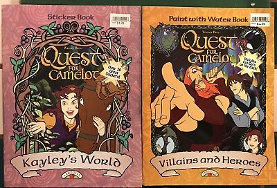 Quest for Camelot Paint W/ Water & Sticker Book Kayley's World Villains & Heroes