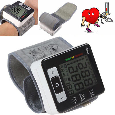Automatic Wrist Blood Pressure Monitors Heart Rate Beat Pulse Meter Digital SHUK