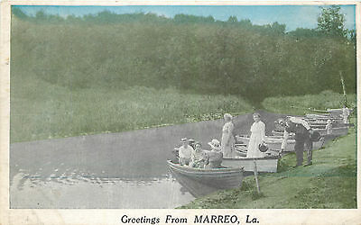 Boaters ~Greetings from MARRERO - LOUISIANA~  Great Old Postcard, circa 1915