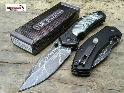 "NEW Wartech 8.25"" Black Terminator Robot Tactical Spring Assisted Pocket Knife"