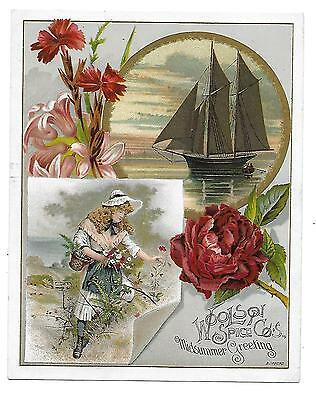 Girl-Ship-Florals-Lion Coffee-Lg.  Bufford Victorian Trade Card 1890's
