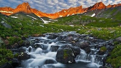 Mountains, Nature, River, Grass High Quality wall Art poster Choose your Size
