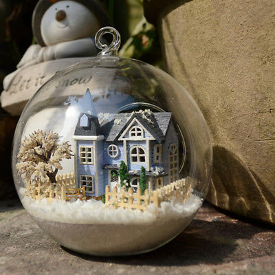 DIY Glass Ball Wood Model Kits LED Dollhouse Snow Fairy Tale Town Gift Handcraft