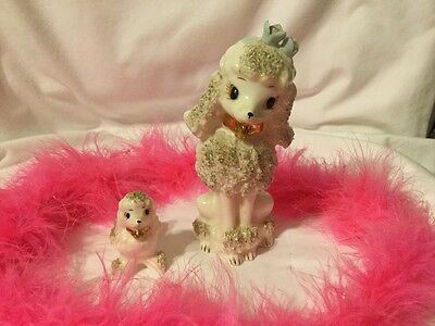Vintage White Spaghetti Poodle And Her Pup Figurine. So Cute!