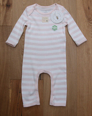 Burt's Bees Baby Girl Non Footed Coverall ~ Pale Pink & White ~ Organic Cotton ~