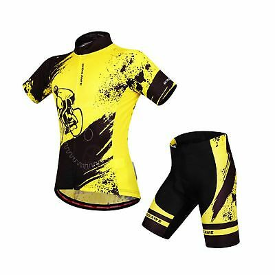 Men's Quick Dry Breathable Cycling Cloths Jersey Jacket / 4D Padded Pants Yellow