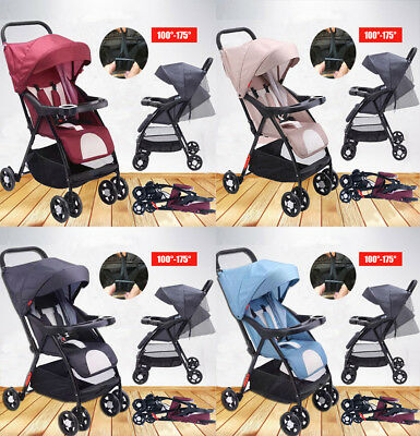 4 Wheels Foldable Baby Stroller Pram Lightweight Buggy Travel System Pushchair