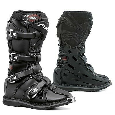 Forma Cougar youth motorcycle boots, kids, black, all sizes, motocross, offroad,