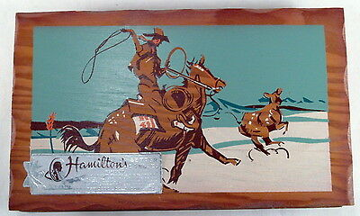 Vintage 1940's Hamiton's Candy Box with Hand Painted Wooden Lid CowboyTheme