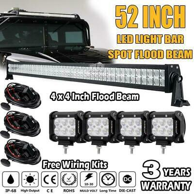52Inch 500W PHILIPS Spot&Flood Combo Offroad + 4x 4Inch 30W Led Work Light Bar