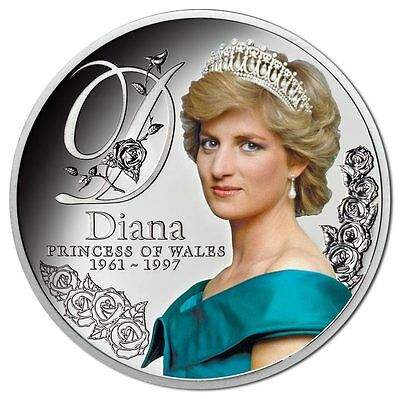 RARE Diana Princess of Wales 2017 $1 coin 99.9% Silver Proof full-colour coin