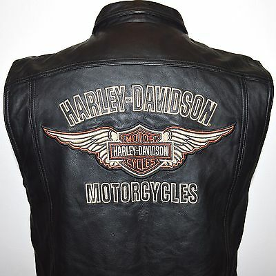 Harley Davidson Men's Medium Black Leather Vest Embroidered Wings Bar and Shield