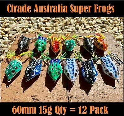 6 Large 60 mm Popper Soft Frog Fishing Lure Surface Barra Lure Cod Trout Bass