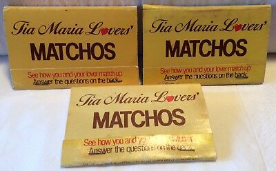 Tia Maria Matchbooks. 3 x Lover's Matches 'See How You And Your Lover Match Up'