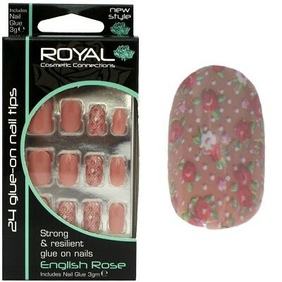 Kit 24 faux ongles beiges & 3g colle 8 ongles avec motif fleurs - English Rose