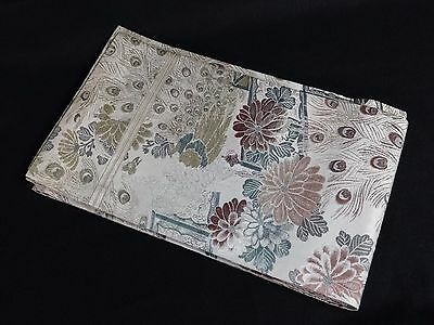 "Vintage Beige Silk Traditional Japanese MARU OBI Peacock Flowers 160"" PC"