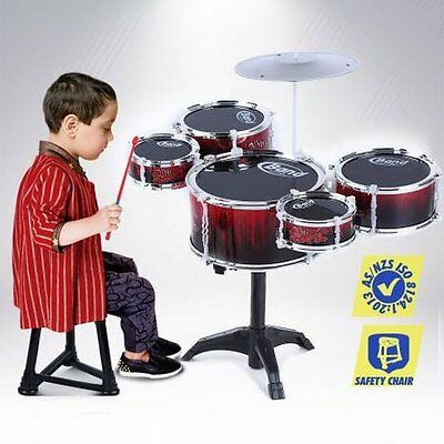 NEW Child Safe Bright Red Jazz Kids Musical Toy Drum Play Set- 5 Drum & 1 Cymbal