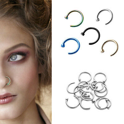 Fashion 8mm Fake Thin Small Nose Ring Hoop Body  Piercing Studs Jewelry 10PCS