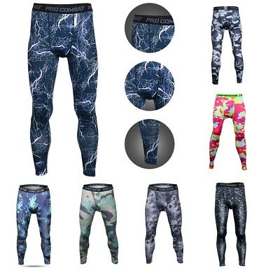Mens Camouflage Sports Compression Tight Leggings GYM Fitness Base Layer Pants