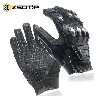 Motorcycle Rider Protective Gloves Leather Touch Screen Black Waterproof Wind
