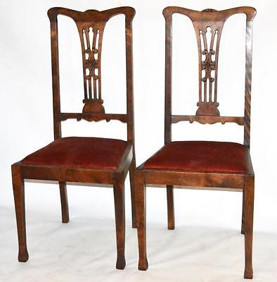 Set of 2 Antique English Chippendale Style Dining Chairs - FREE Shipping [P553A]