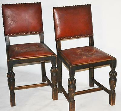 Set of 2 Antique Cromwellian Oak Dining Chairs - FREE Shipping [PL1968C]