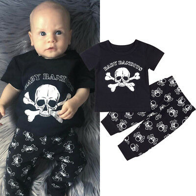 AU Newborn Toddler Baby Boys Skull Outfits T-shirt Tops+Pants 2PCS Set Clothes