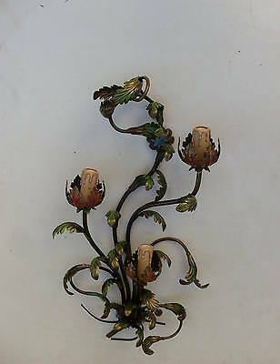 Vtg Italian Wall Sconce Wrought Iron, 3 bulbs, Leaves of Oak Style, Wall ,#57
