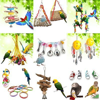 Parrot Pet Bird Chew Cages Hang Toys Supplies Wood Large Rope Cave Ladder Bells