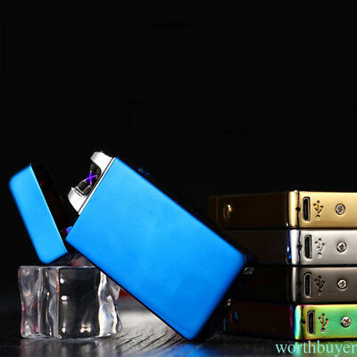 USB Electronic Rechargeable Windproof Flameless Cigar Cigarette Metal Lighter DG
