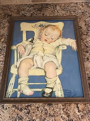 Vintage Antique Framed Print by Maud Tousey Fangel Sleeping Baby in Highchair