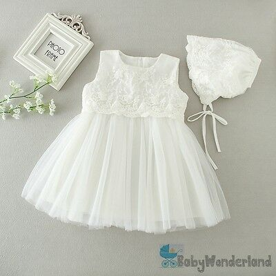 Baby Girl 2PCS Set Sleeveless Christening  Baptism Gown Lace Dresses Size 0-2Y