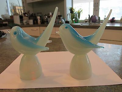 Vintage MURANO Glass Stylized Matching Bird Set Opaline Opalescent White Blue