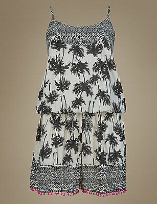 M & S Collection Palm Tree Print Black Mix Playsuit