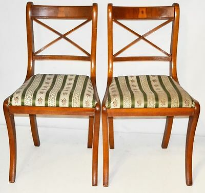 Set of 2 Antique Georgian Style Yew Wood Dining Chairs - FREE Shipping [PL1867C]