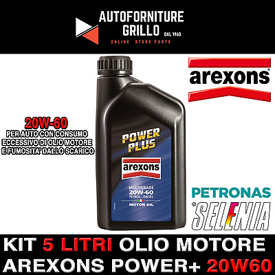 KIT 5 LT - Olio motore Arexons Power+ 20W60 1LT (tipo HPX ) riduce consumo