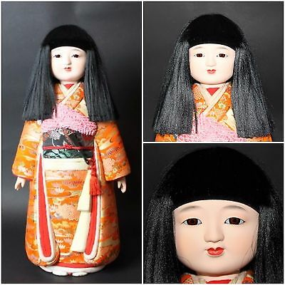 "Exc Vintage Japanese 1900s ANTIQUE Doll 44cm 17.3"" KIMONO figure from JAPAN a229"