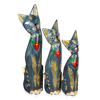 Set of 3 Handcrafted Decorative Wooden Cats (13 in)