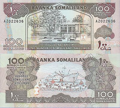 Somaliland 100 Shillings Banknote 1996 Uncirculated Condition Cat#5-B-2636
