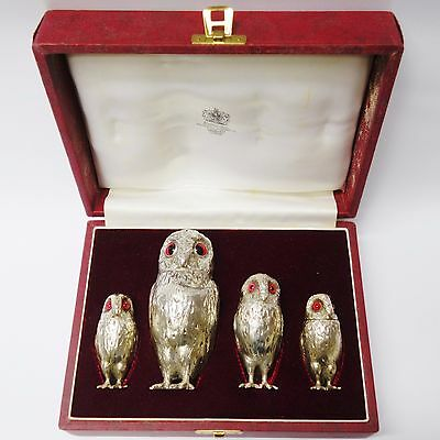 Antique Silver Owl Condiment Set Made by EDWARD CHARLES BROWN. Stock ID 8944