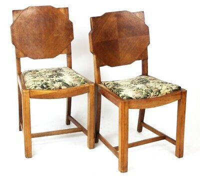 A pair of English Art Deco Shield Back Oak Dining Chairs - FREE Shipping [P2817]