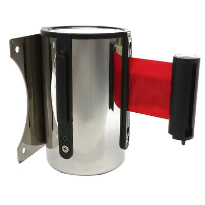 Stanchion Queue Barrier Post Wall Mount Retractable Ribbon 5m Belt Red