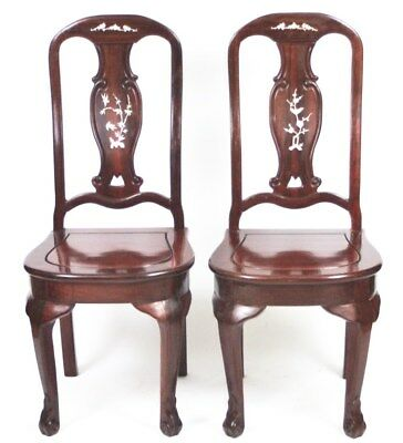 A pair of Vintage Mahogany Mother of Pearl Inlaid Dining Chairs [PL1562]