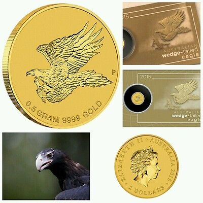 2015 0.5 gram $2 Gold Wedge Tail Eagle 9999 Fine plus see description.