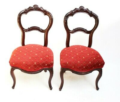 A pair of Victorian Carved Mahogany Balloon Back Saloon Chairs [PL649]