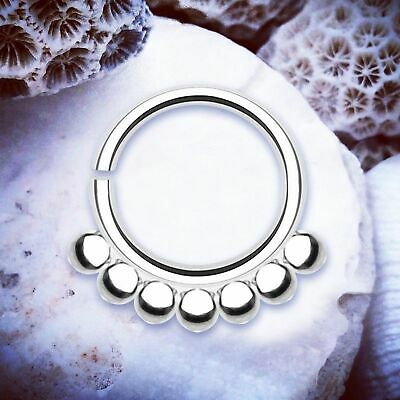 ELISE Ball Septum Ring Silver Cartilage Earring Helix Hoop Conch Piercing Tragus