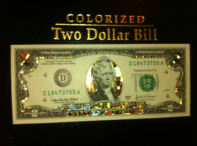 1$-22 KARAT GOLD DOLLAR BILL-HOLOGRAM COLORIZED-USA NOTES-LEGAL TENDER CURRENCY